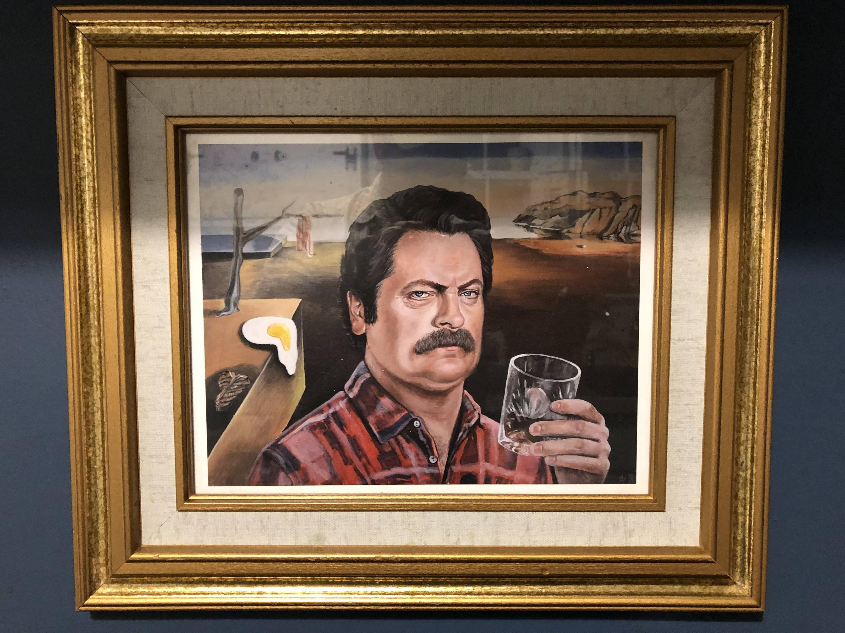 Painting in my air b-n-b this weekend: Ron Swanson in the style of Dali