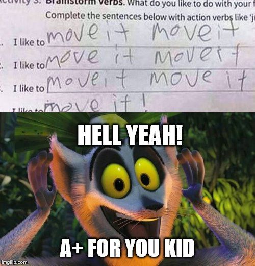 This kid gets an A+