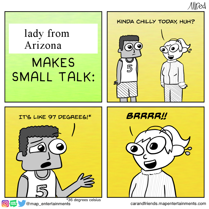 Lady from Arizona makes small talk