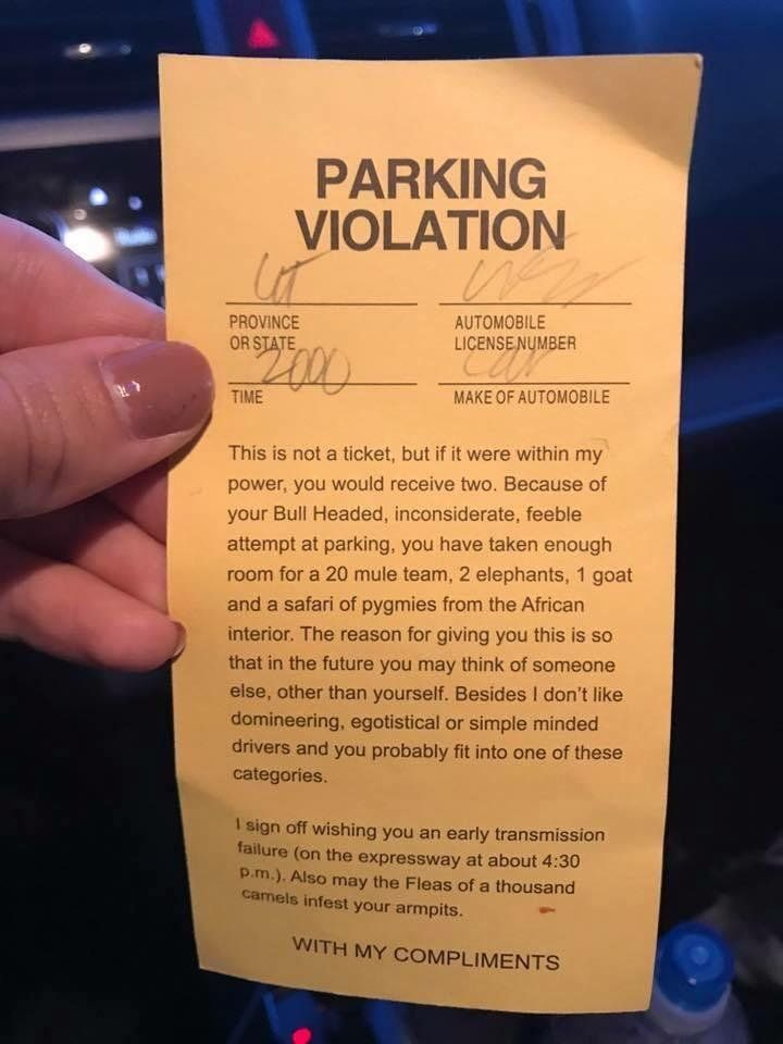 Complimented parking ticket