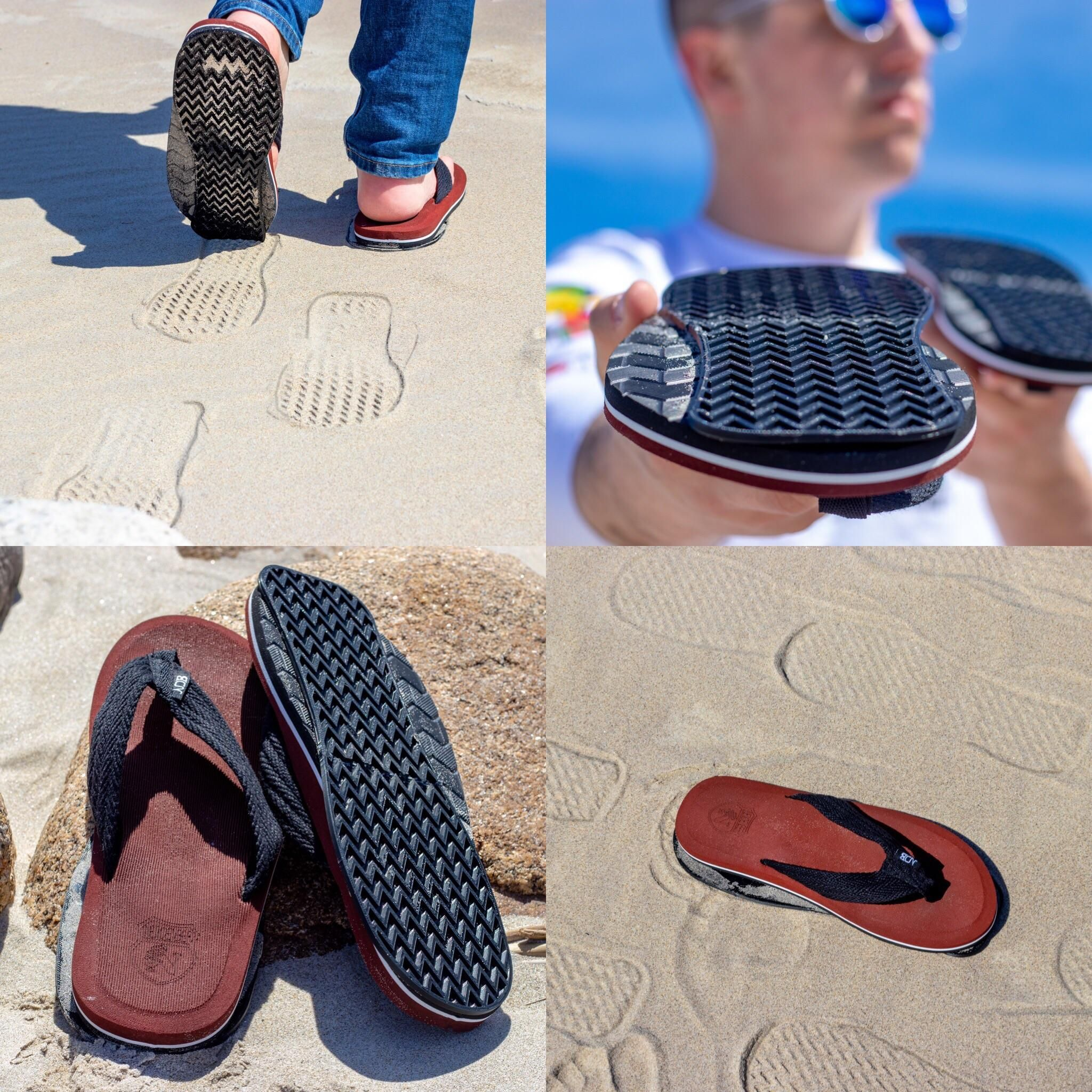My newest fake invention is the FlopFlips. Sandals with reverse soles so it looks like you were walking the opposite direction on the beach. See ya later stalkers!