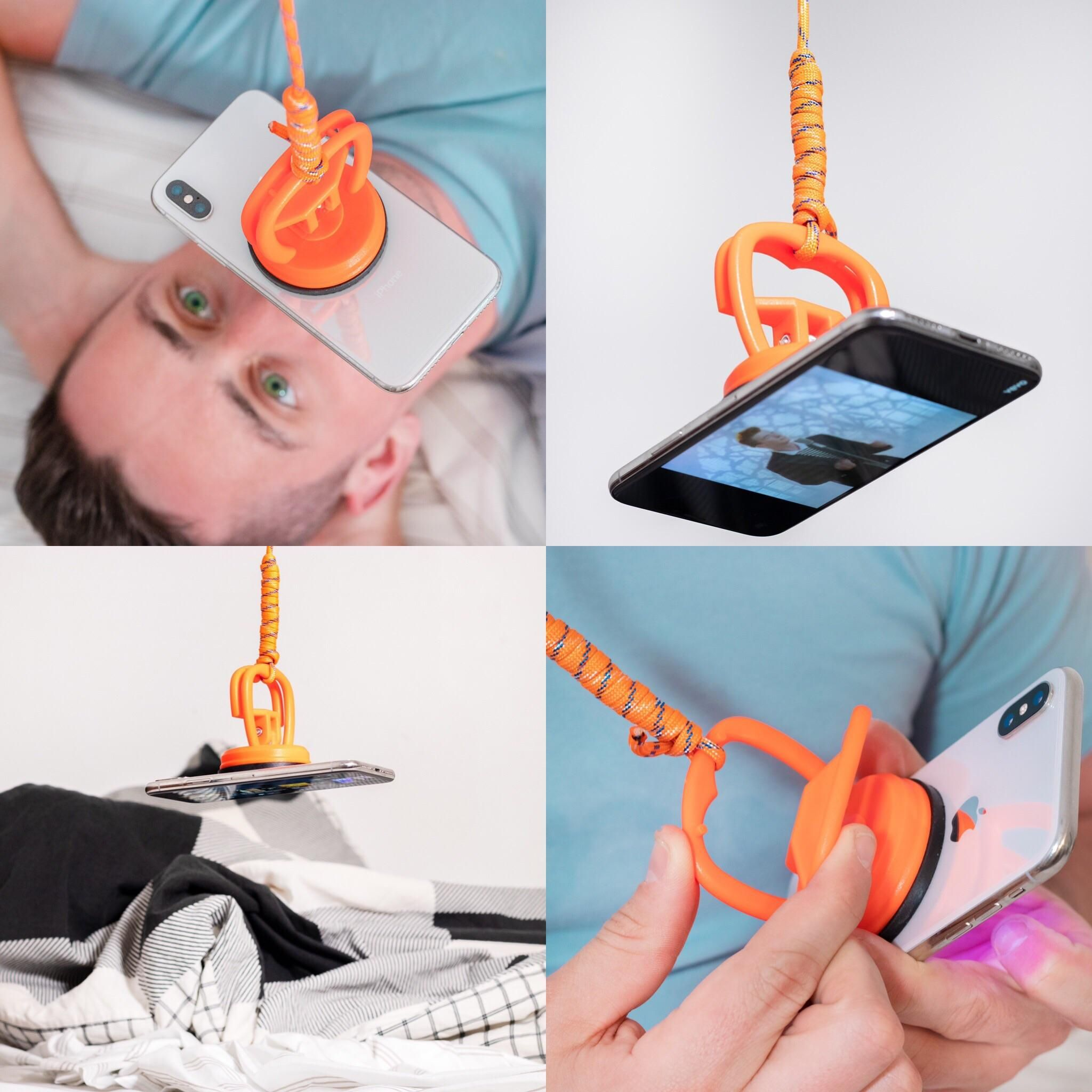 For fun I design fake products that solve problems in an unnecessary way. The iDangle is the hands free way to watch your phone inches from your face in bed.