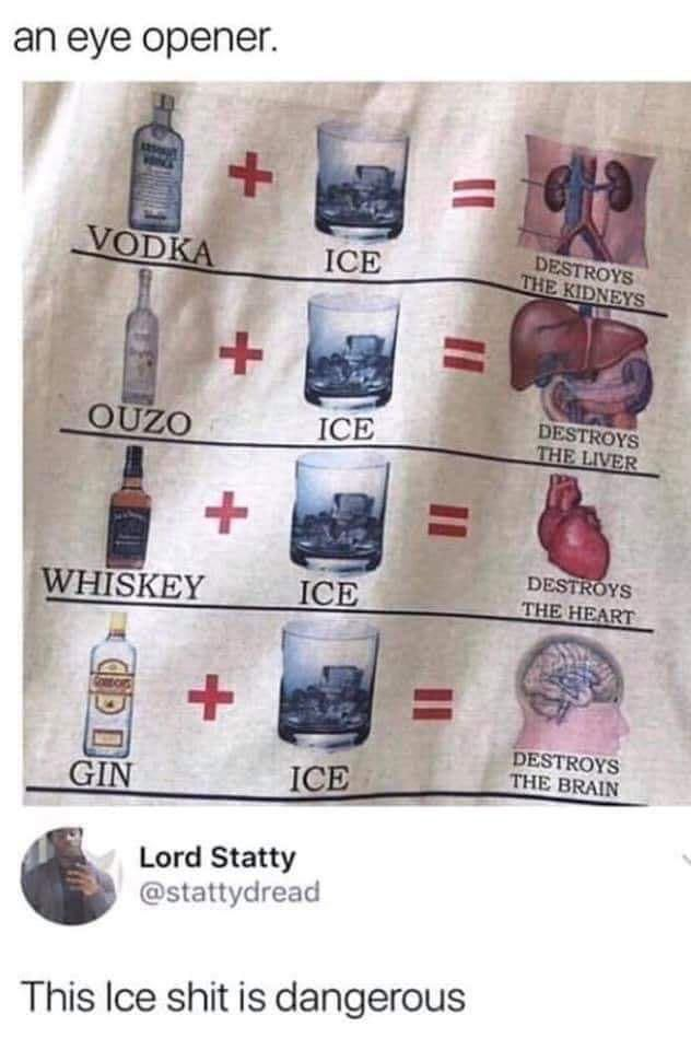 only pussies drink their vodka with ice anyway