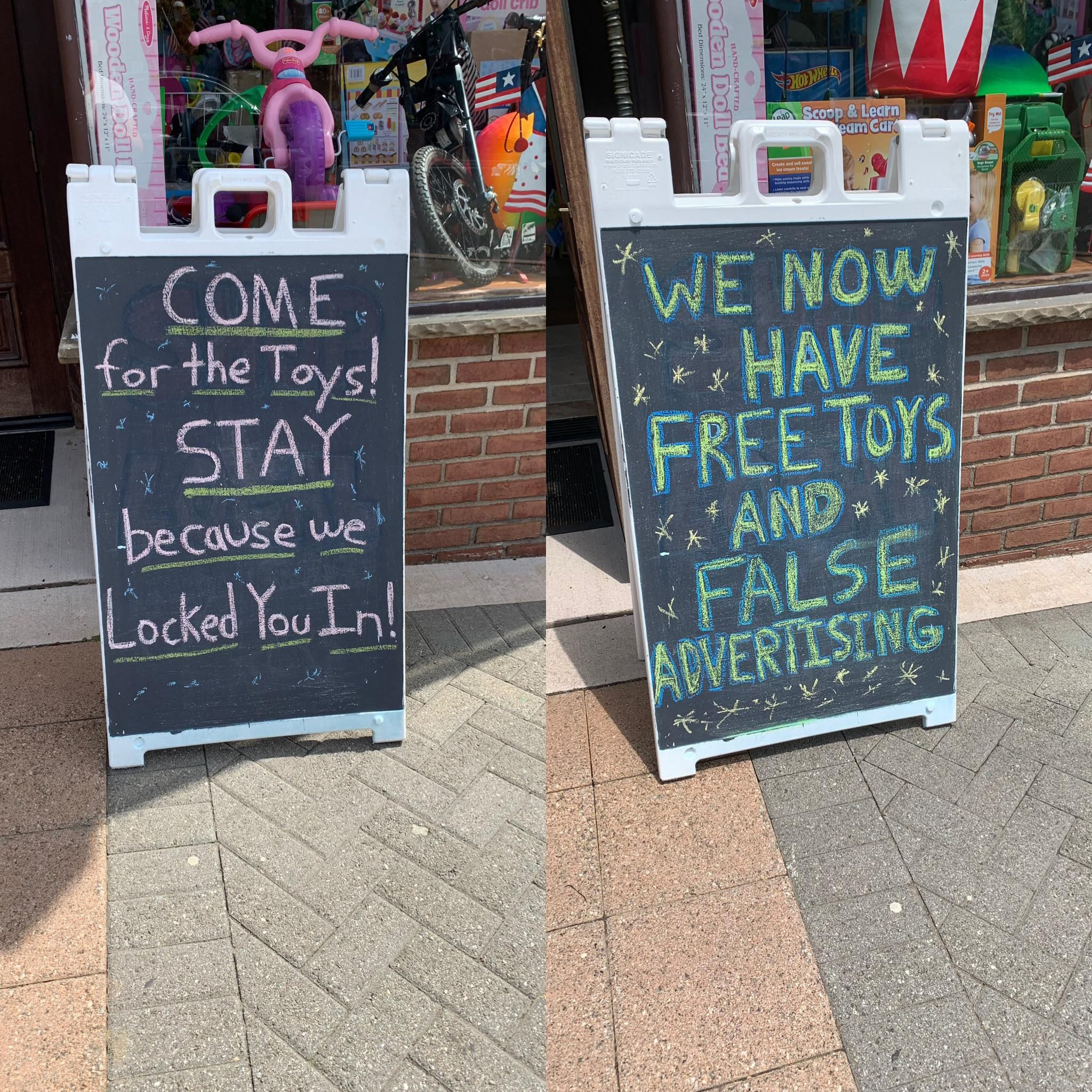 The signs outside this toy store