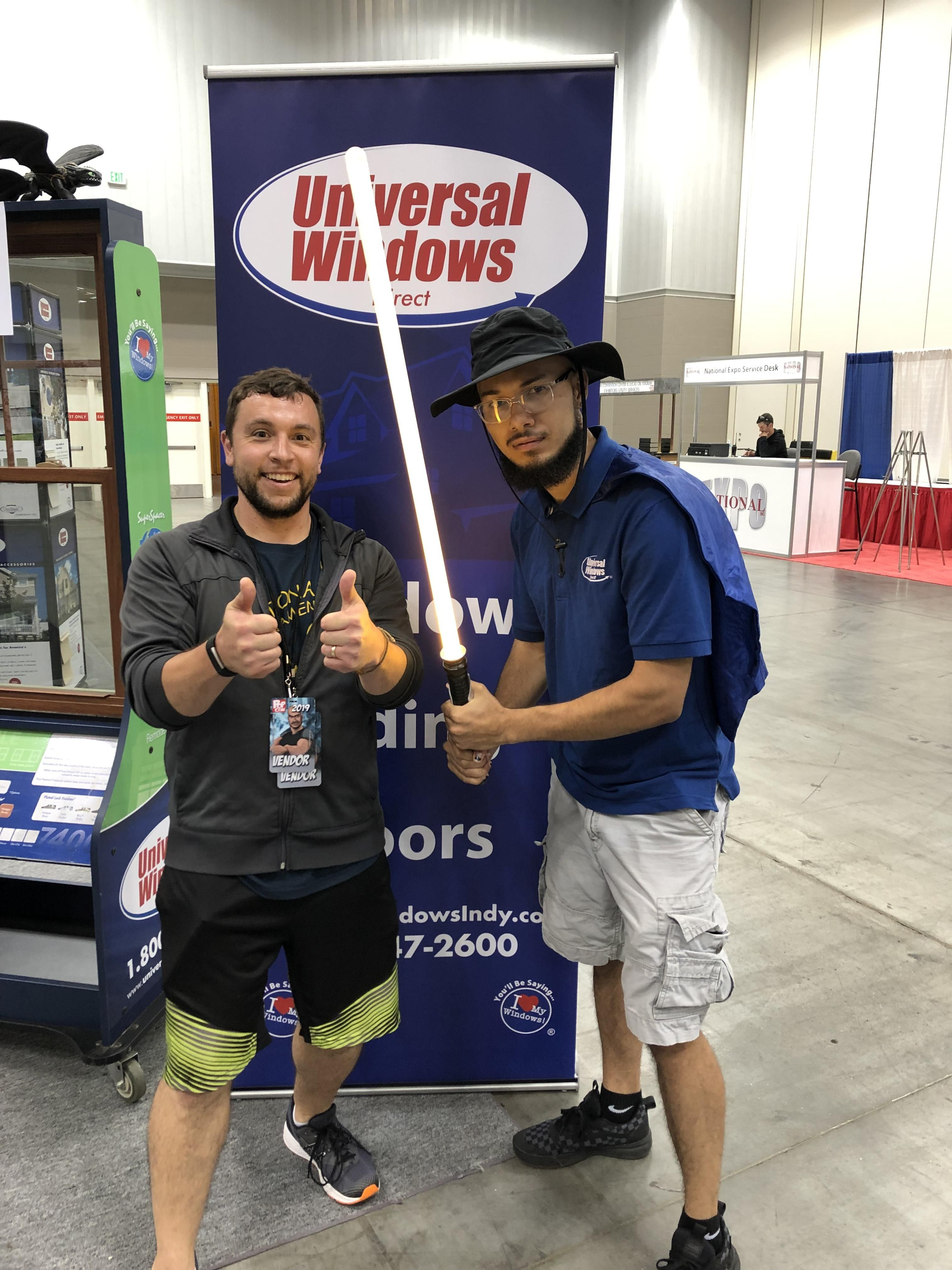 I noticed the window company at my local geek convention was lonely. I was apparently the first person to ask him for a picture.