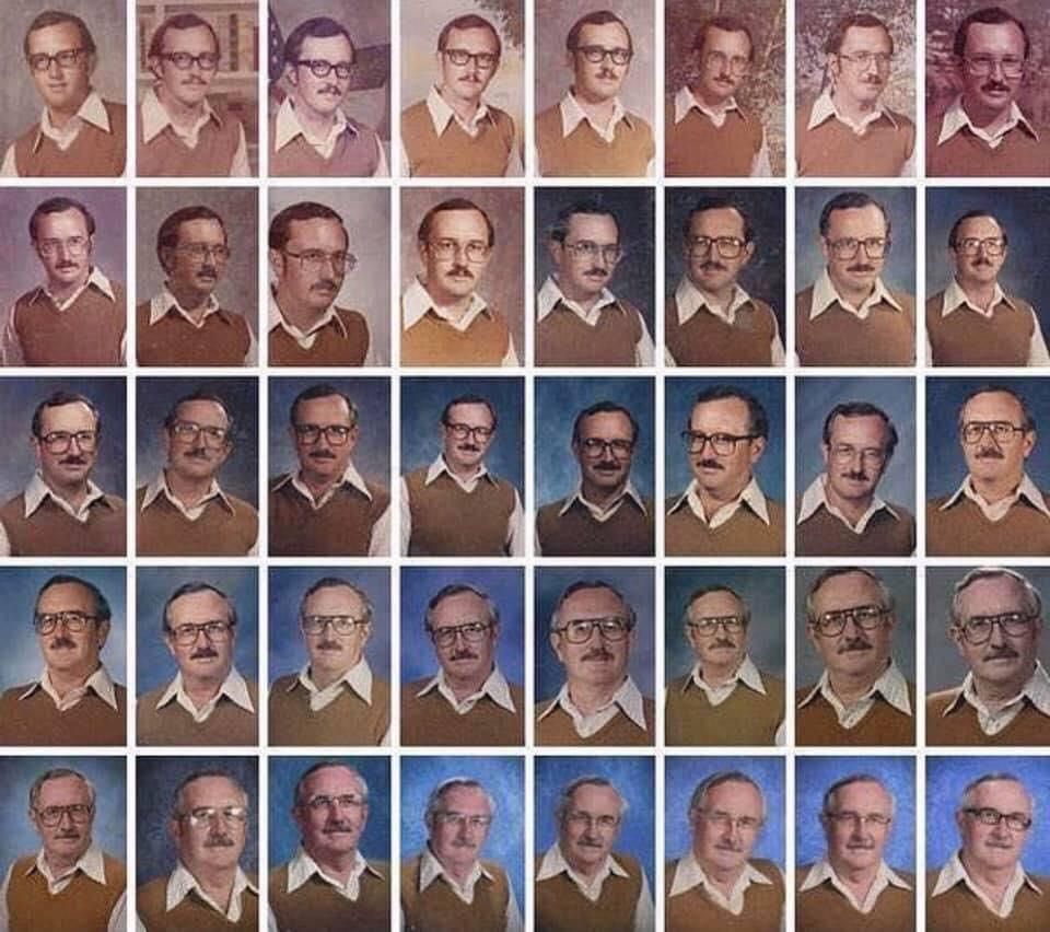 Dale Irby, a teacher with a great sense of humor who wore the same outfit for the yearbook photo 40 years in a row