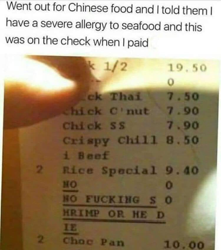 Do not give him shrimps!