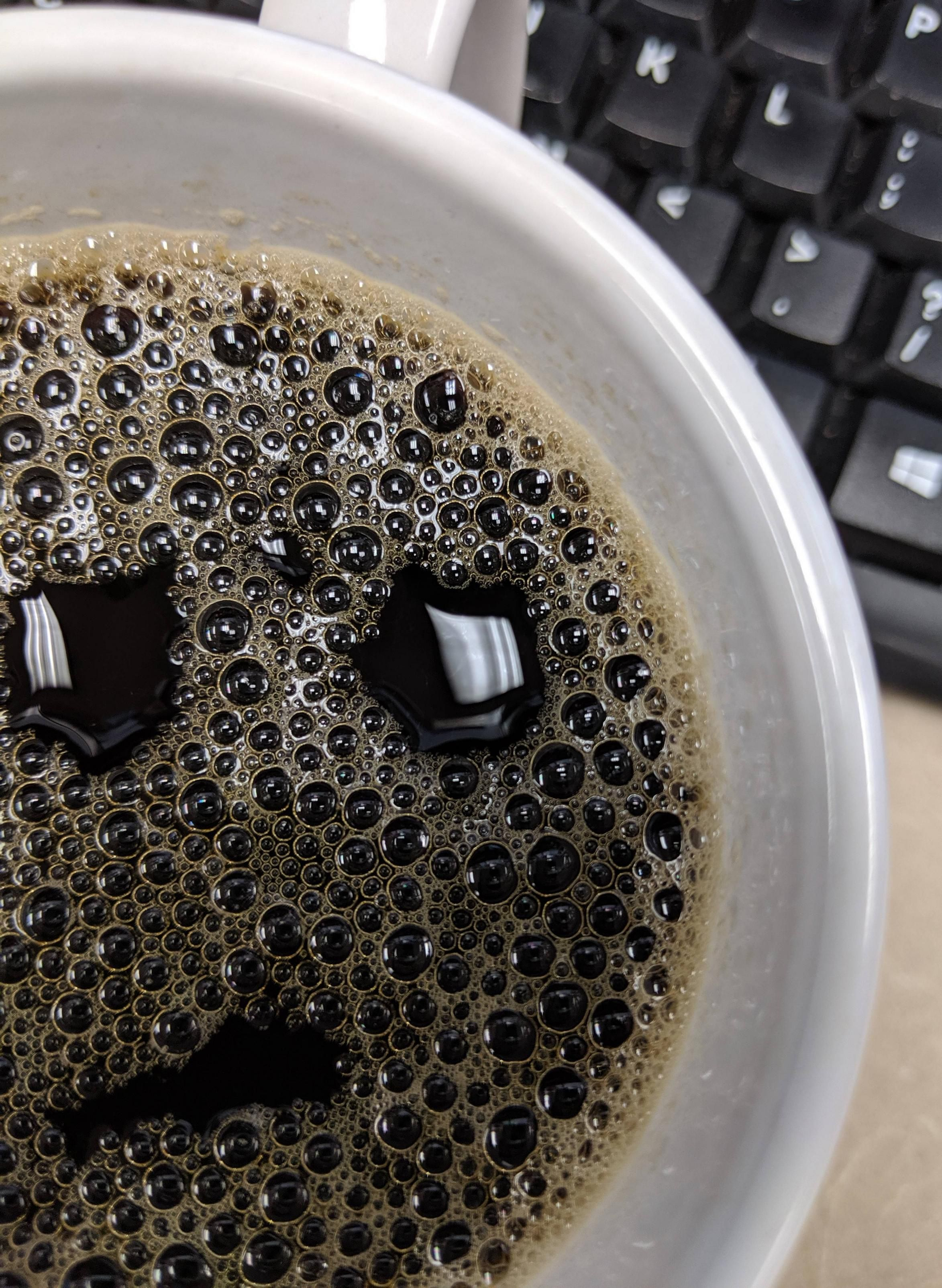 My coffee looks like he just forgot about a meeting