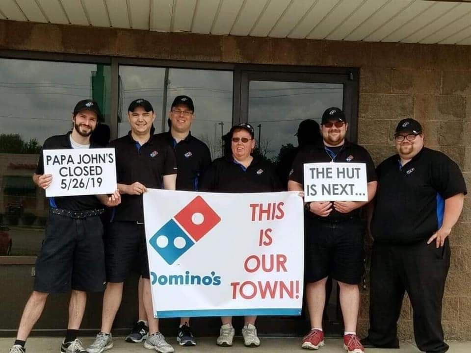 Domino's Pizza flexing on our Papa John's in my home town