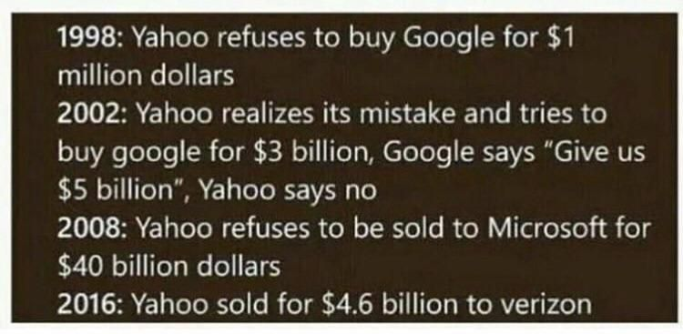 if you ever feel like you have made a mistake in life, remember that you are not as bad as Yahoo.