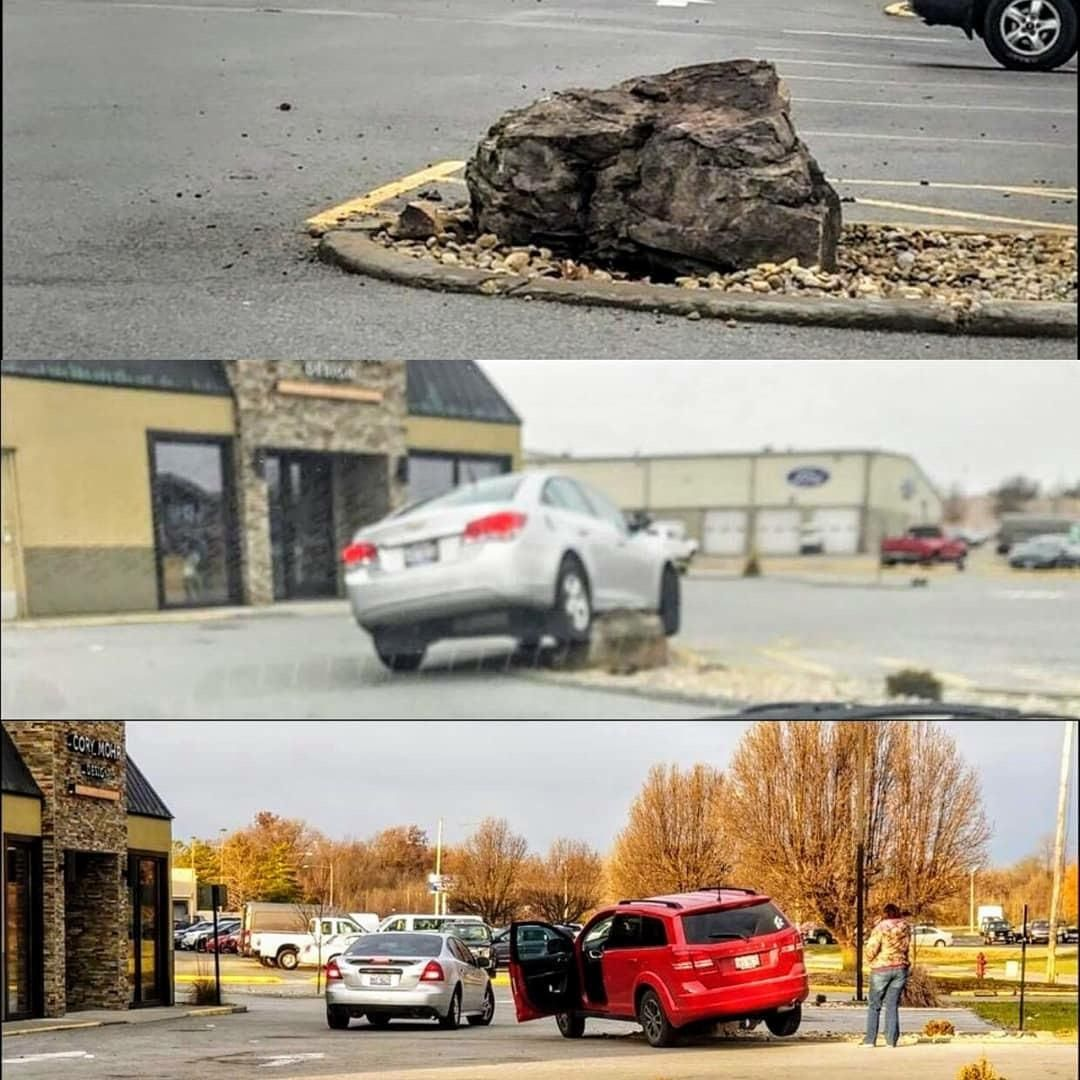 Local donut shop put a rock in their planter to keep people from driving over plants