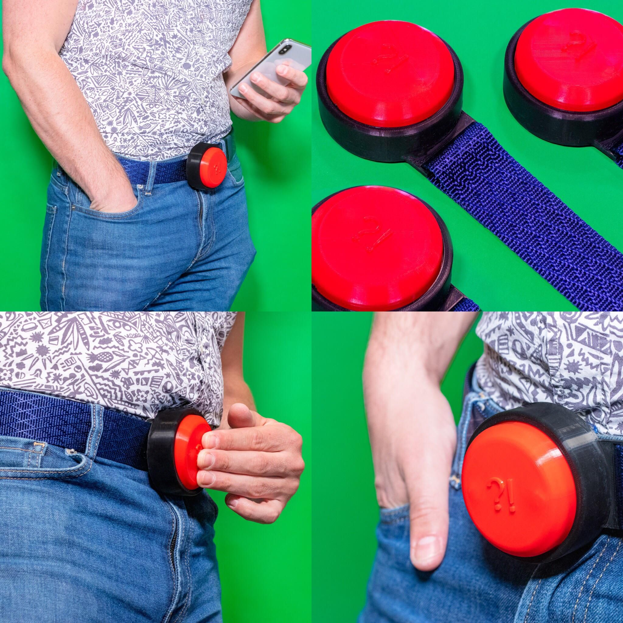 My newest fake invention is the FrustrationButton, you own belt buckle horn for slow walkers.