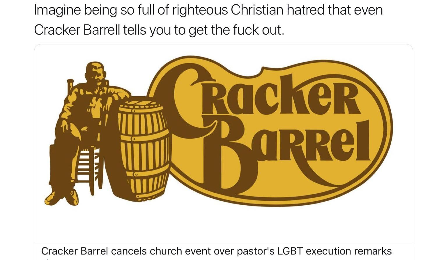 Crackers getting banned from Cracker Barrel.
