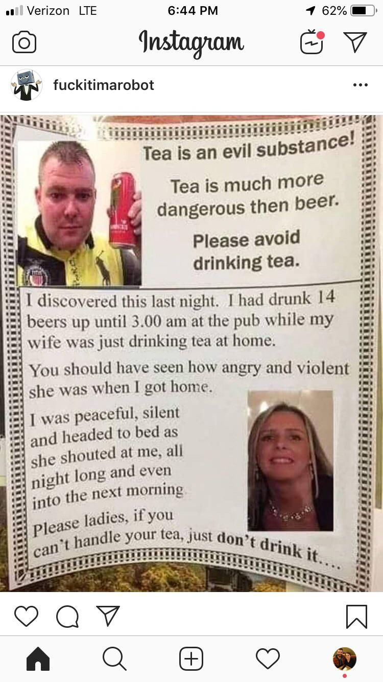 Tea is the evil drink!