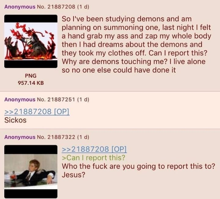 Anon summons a demon and gets molested