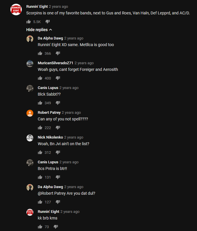 Youtube comment section is aight sometimes (OC)