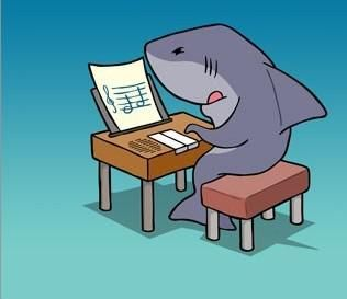 Jaws learning the piano