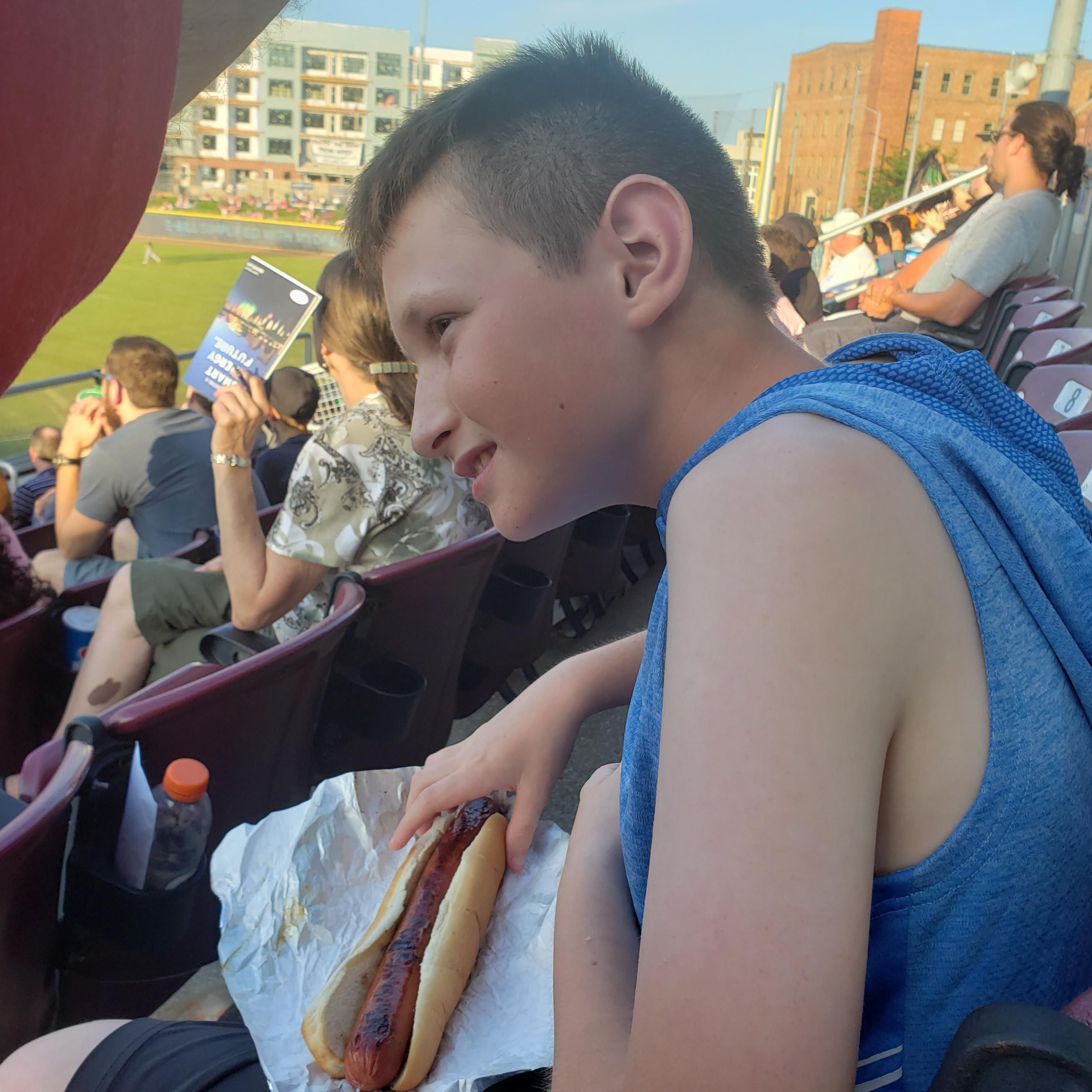 "Took my son to a baseball game tonight. He comes back with a footlong hot dog and says to me ""I got a big weiner"" lol to be an 11 year old boy."