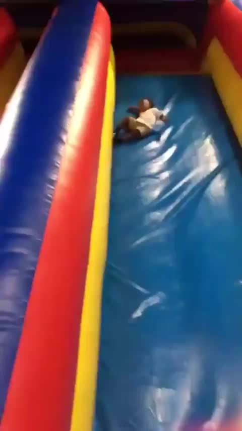 The correct way to go down a slide