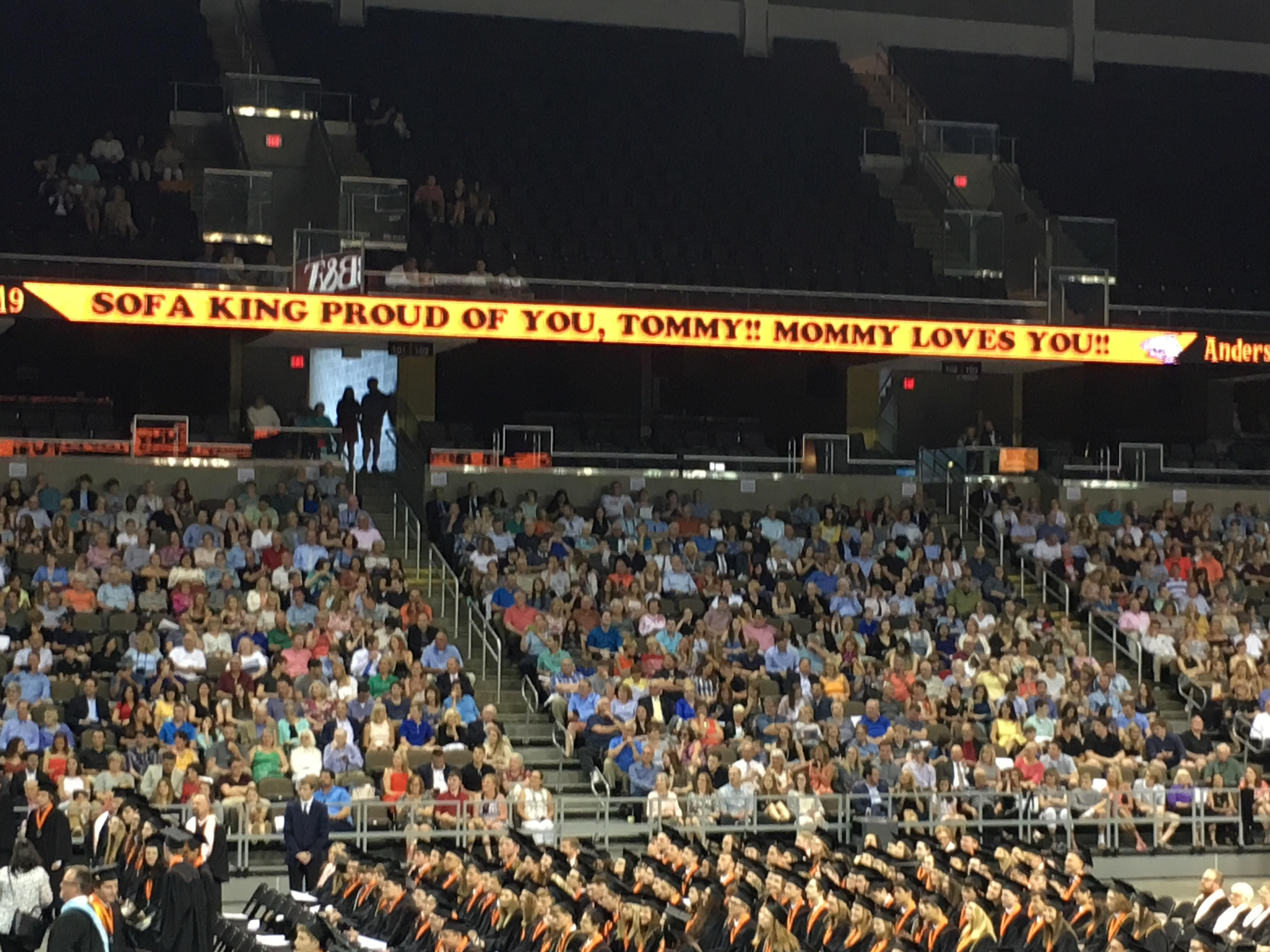 High school graduation allowed parents to send personalized messages on the ticker in the arena. This rotated through every 8 minutes.