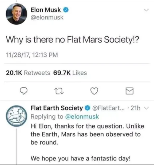 Why is there no Flat Mars Society ?