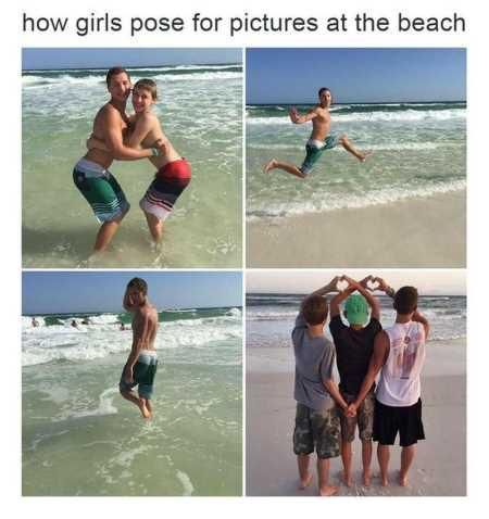How girls pose at the beach