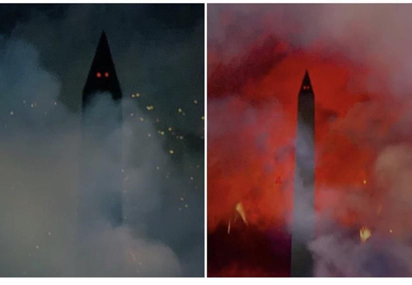 The Washington Monument is pretty terrifying after fireworks