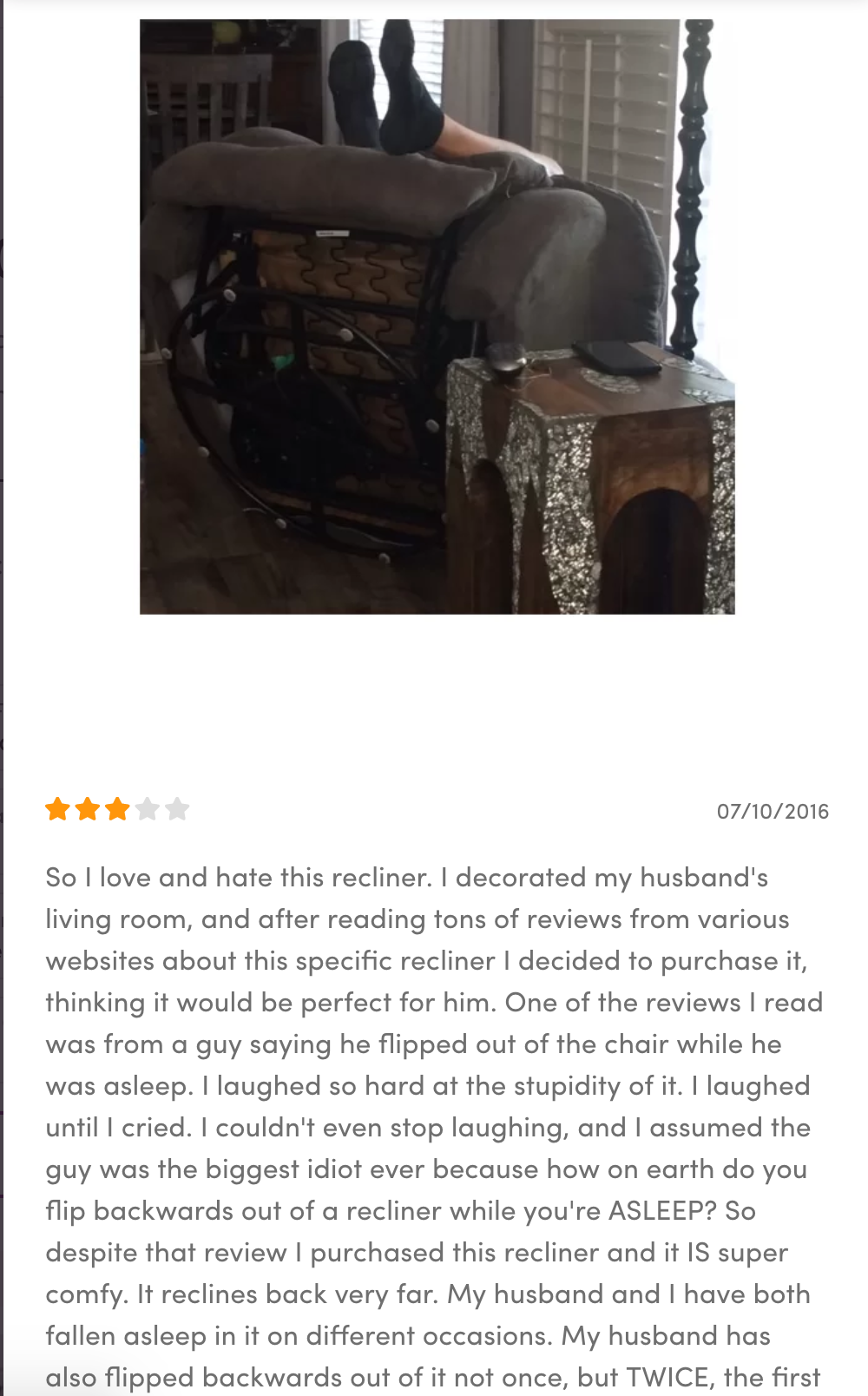 I've been shopping for a recliner. I found the review of one where a customer uploaded a picture.