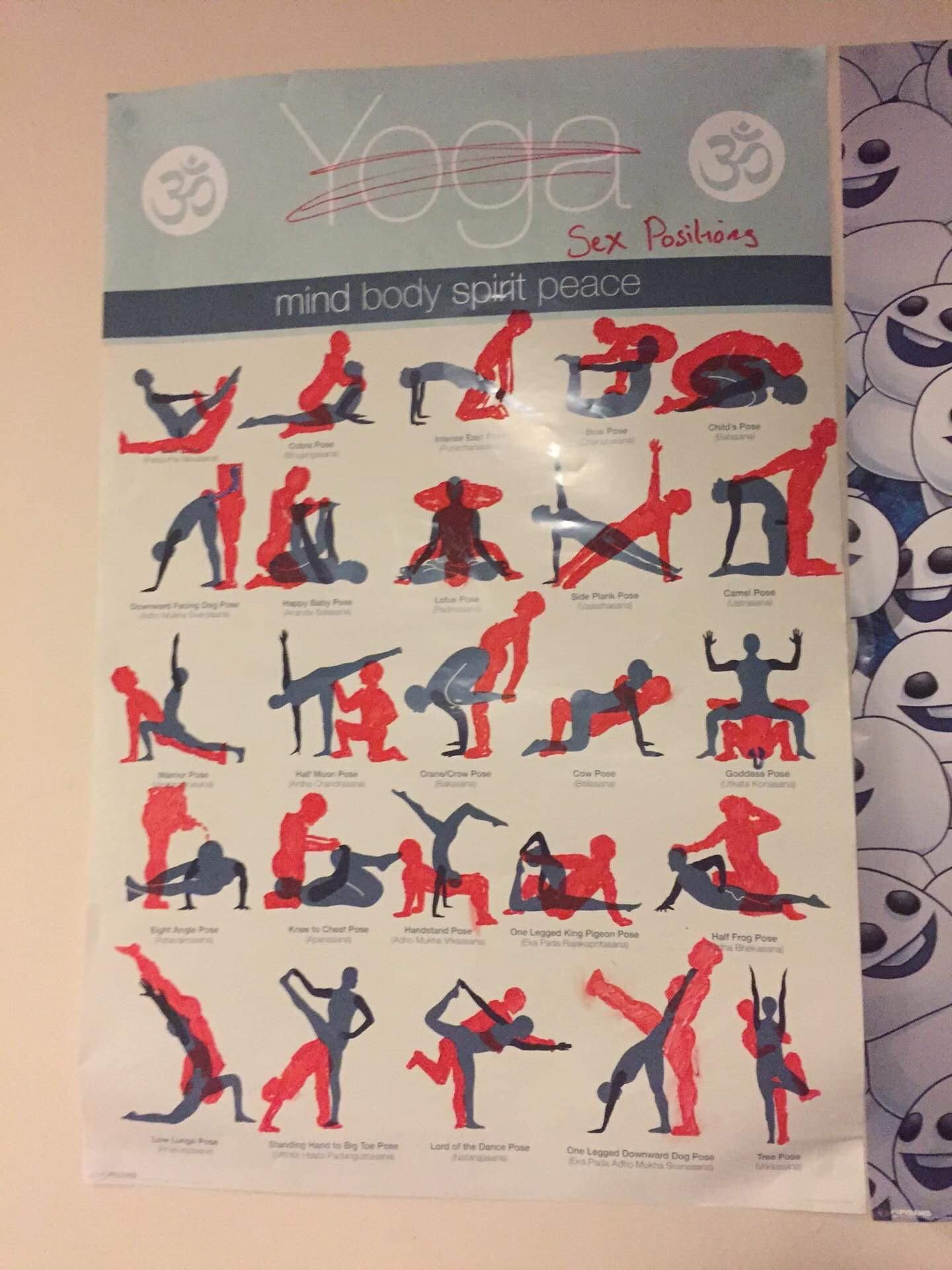 Friends roommate got this yoga poster while his roommate was away, he got drunk and did this to his roommates poster.