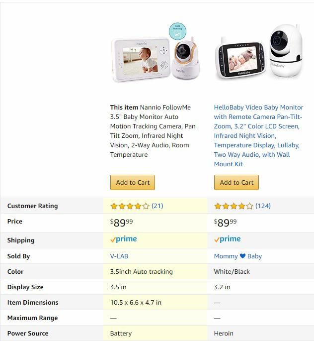 Shopping for baby monitors. I don't think I can afford to power the one on the right.