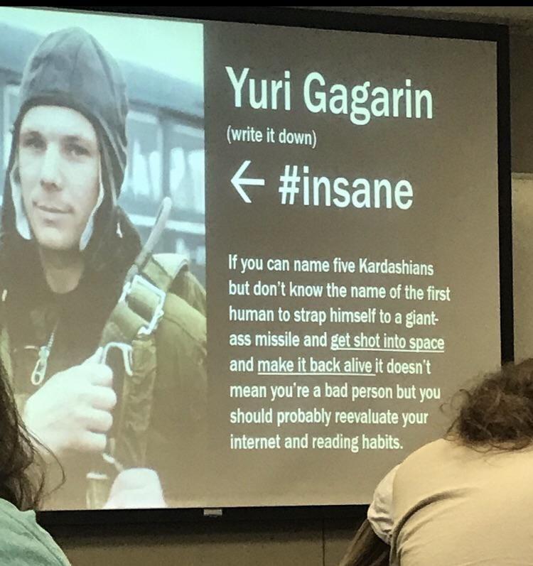 History professor teaching life lessons