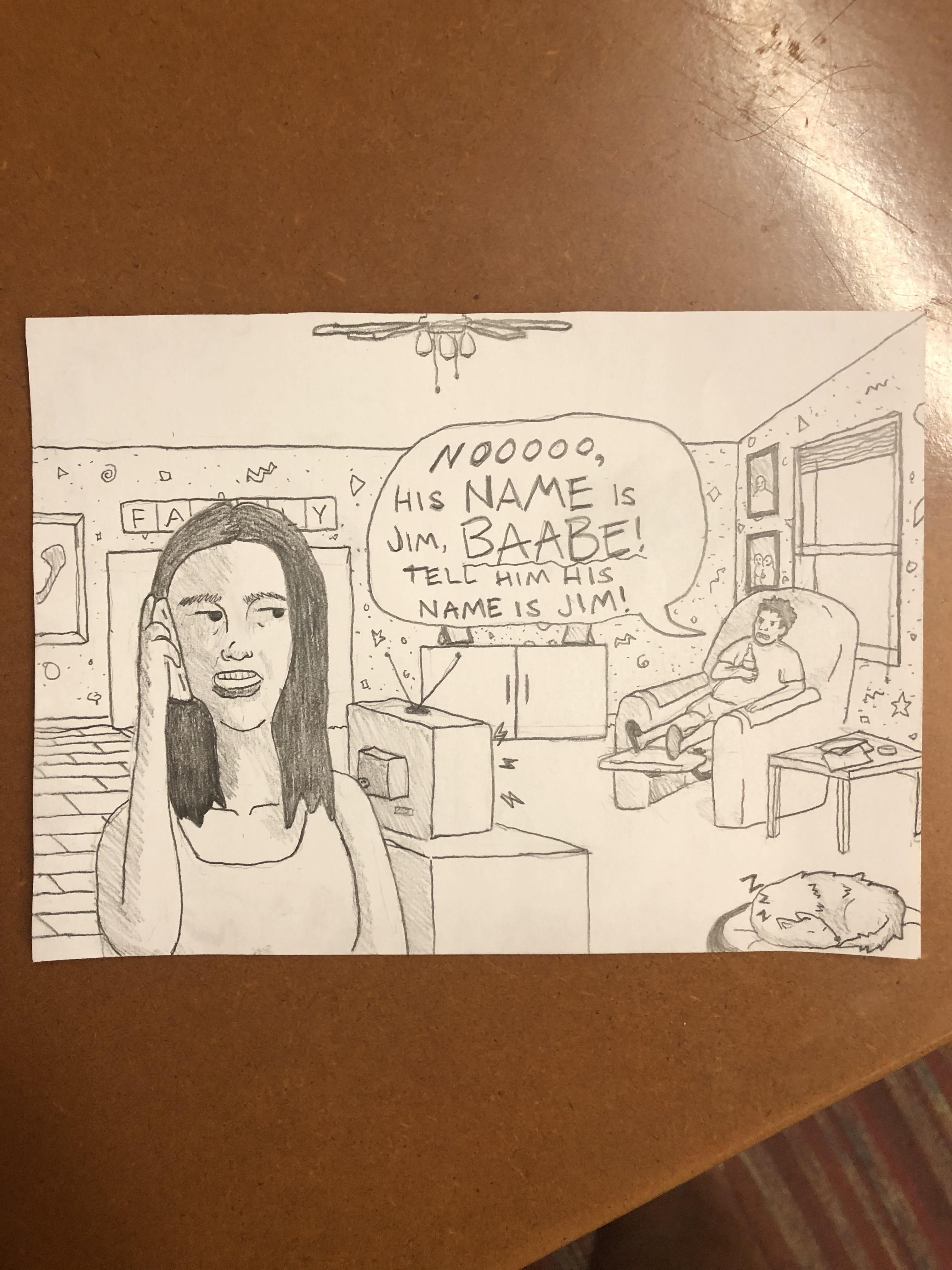 I work at a call center. Sometimes I like to try and draw my customers. Nothing better than the correcting background spouse.