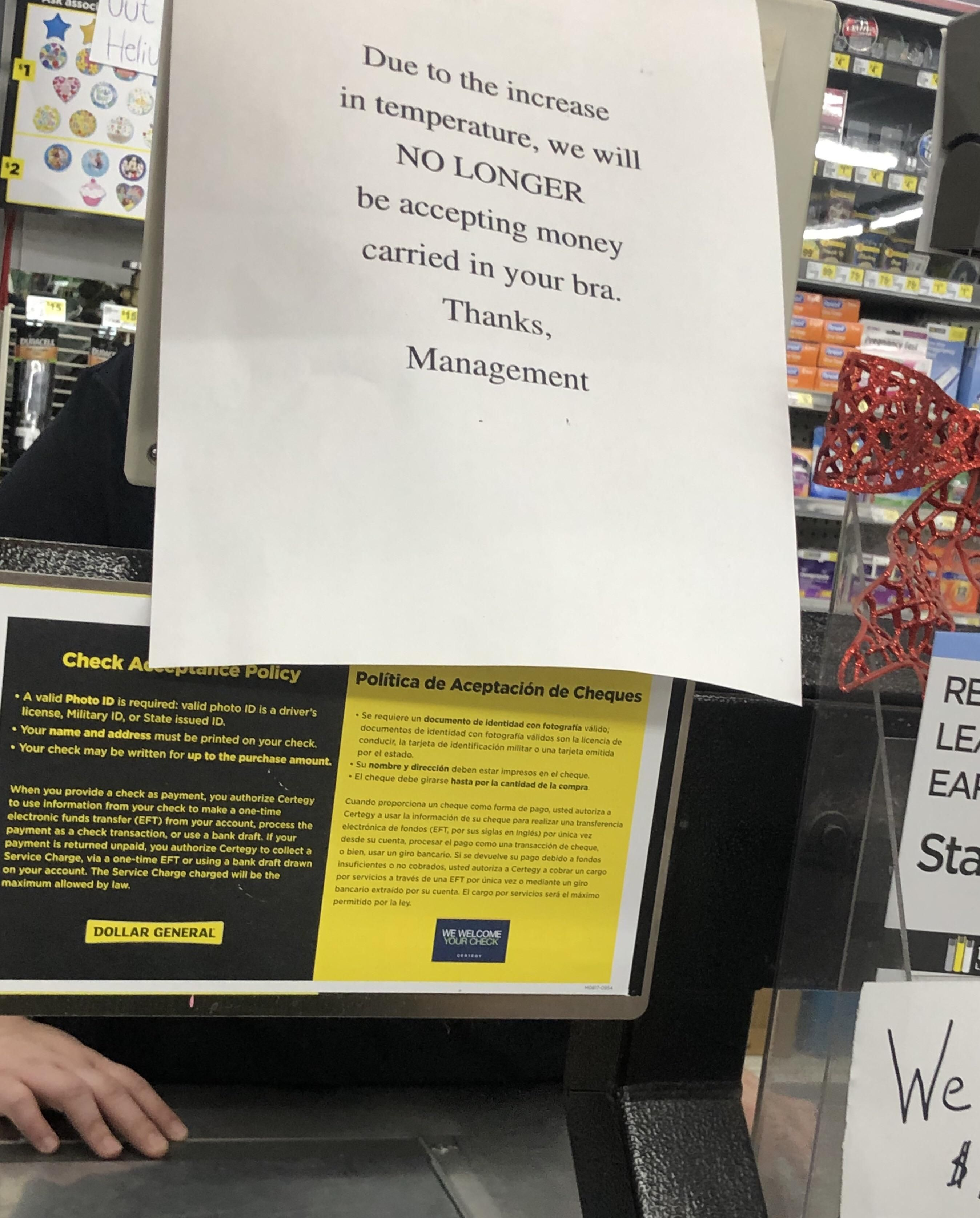 Sign at my local dollar store