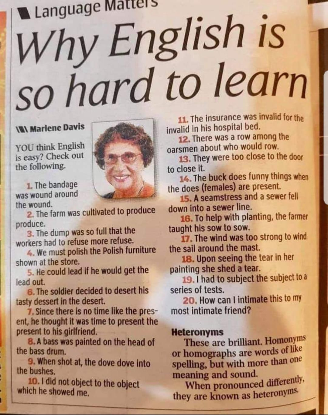 English is thoroughly tough