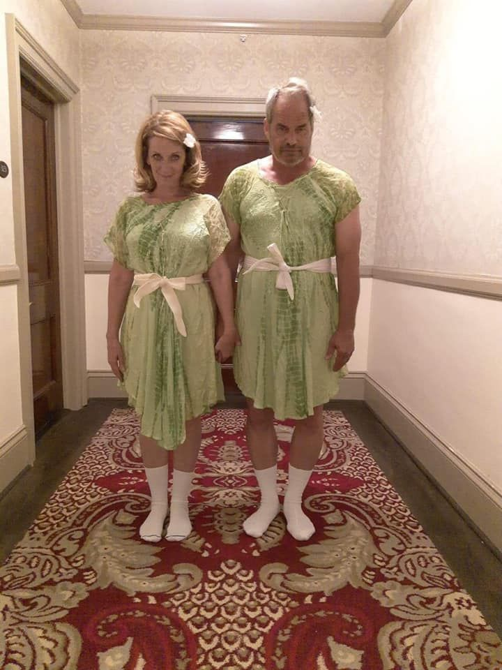 Lucky enough to find matching dresses for my boyfriend and me so we could do this pose at the Stanley Hotel. Estes Park, Co Thrift shop.