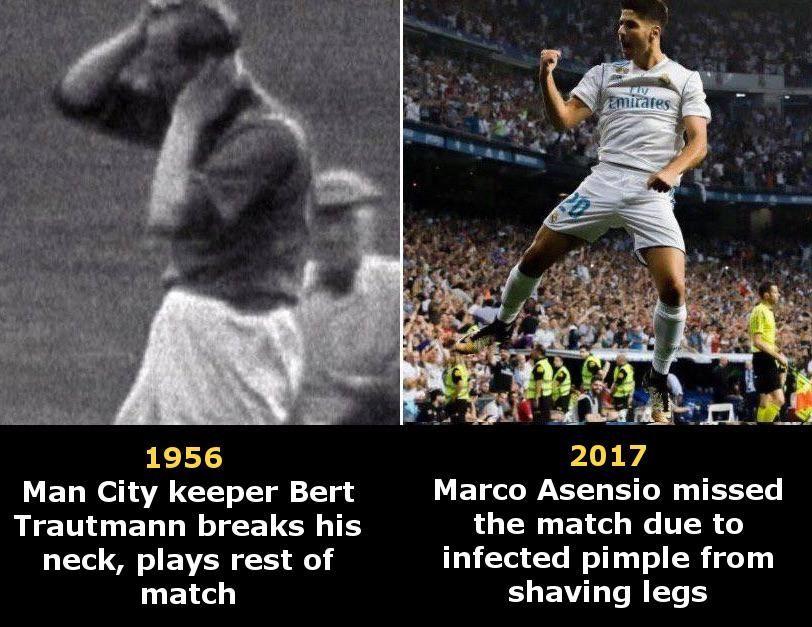 Old vs modern footballers ...