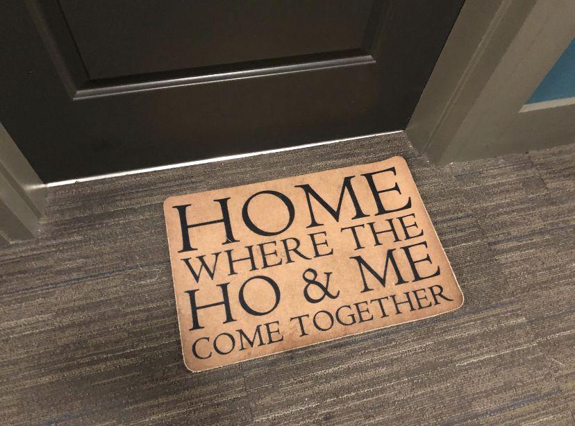 A neighbor's doormat