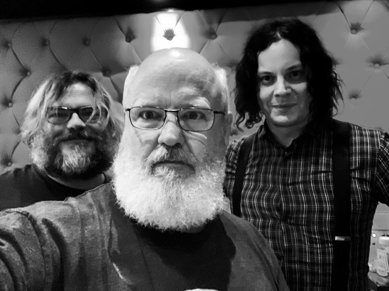 Jack Black & Jack White taking a black and white photo feat. Kyle Gass