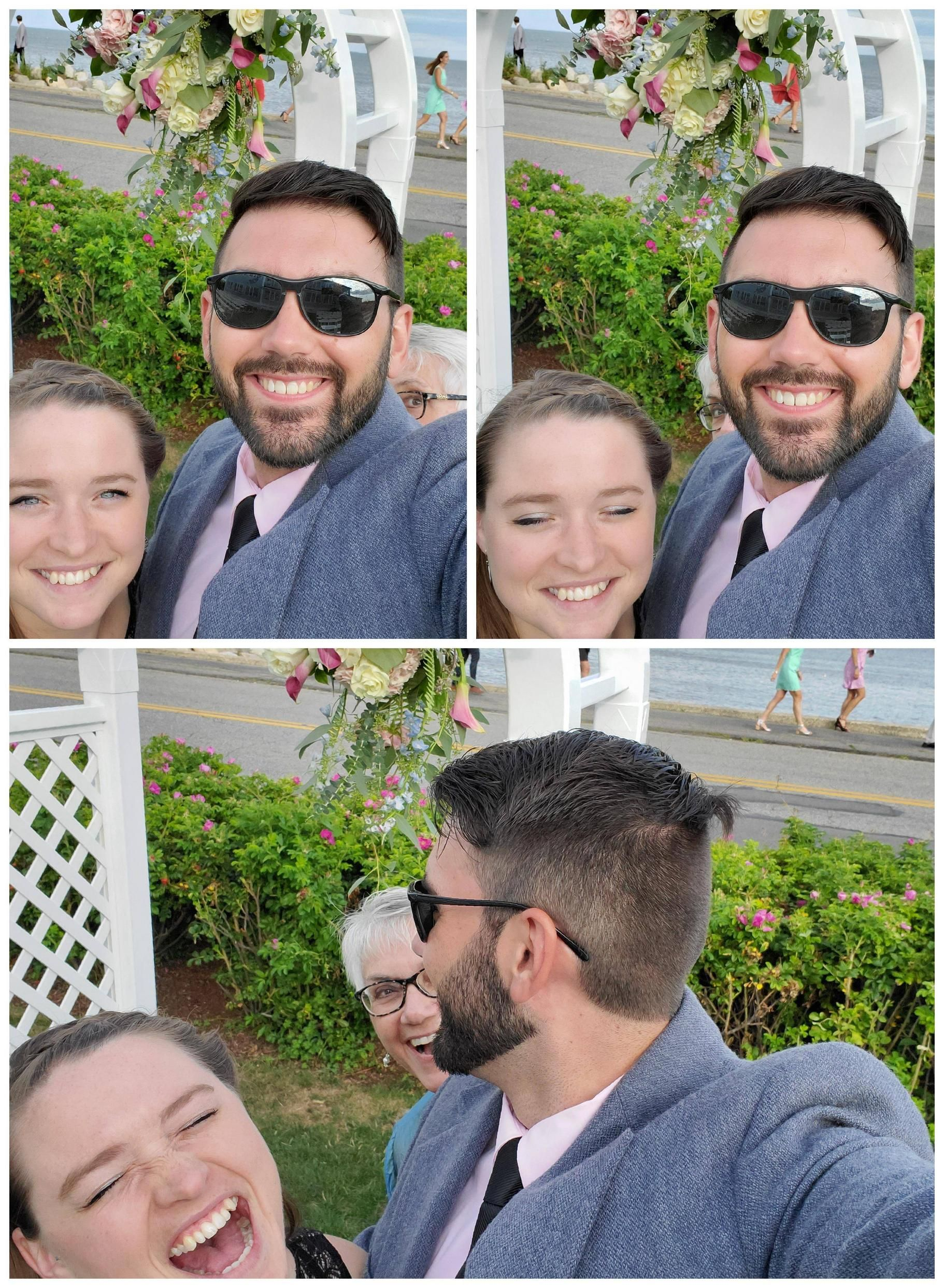 """My mom tried to be sneaky and """"picture bomb"""" my Fiancee and I. I'm so proud of her."""