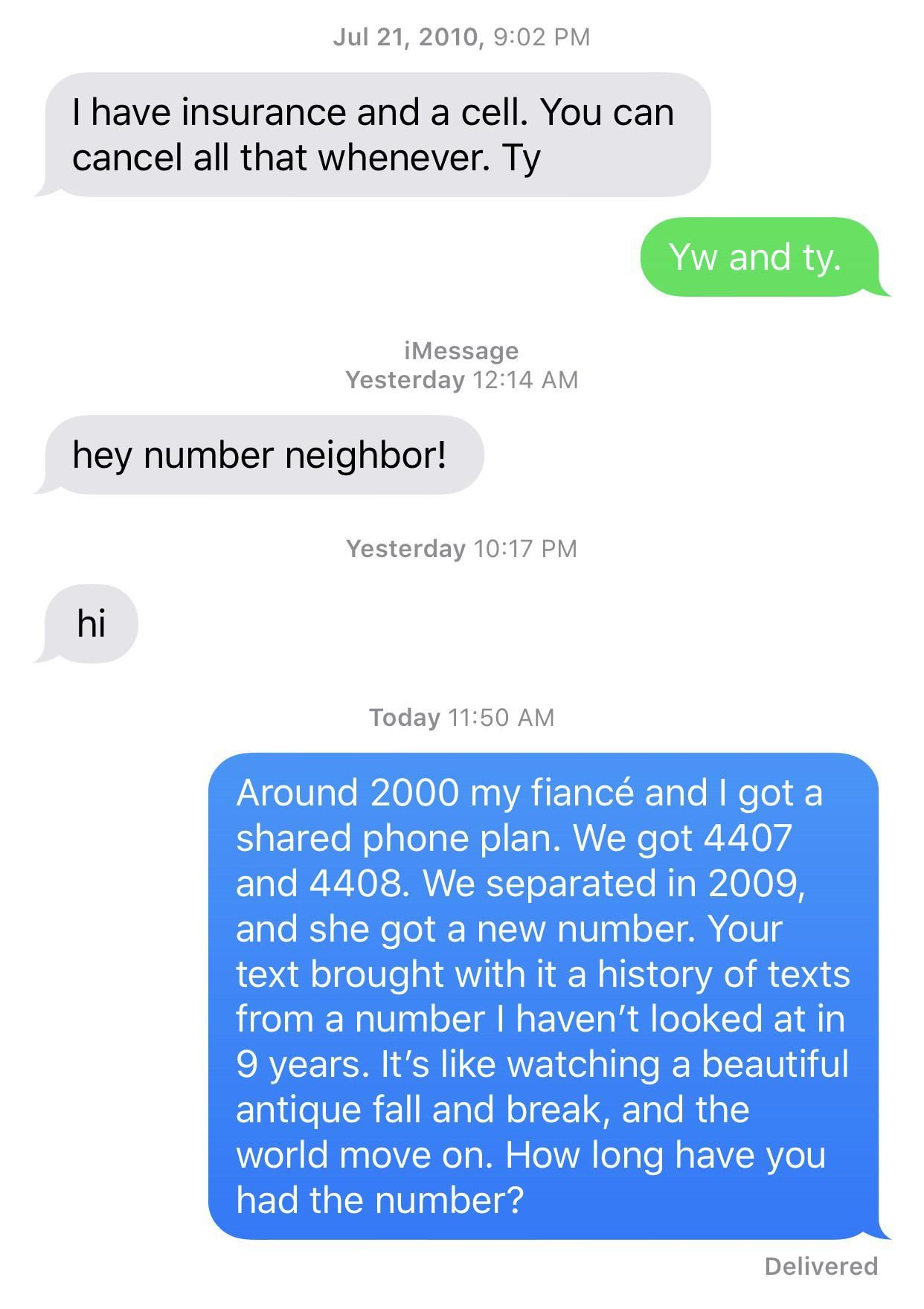 I'm old. I guess number neighbor is now a thing. I think I traumatized a kid. No answer.