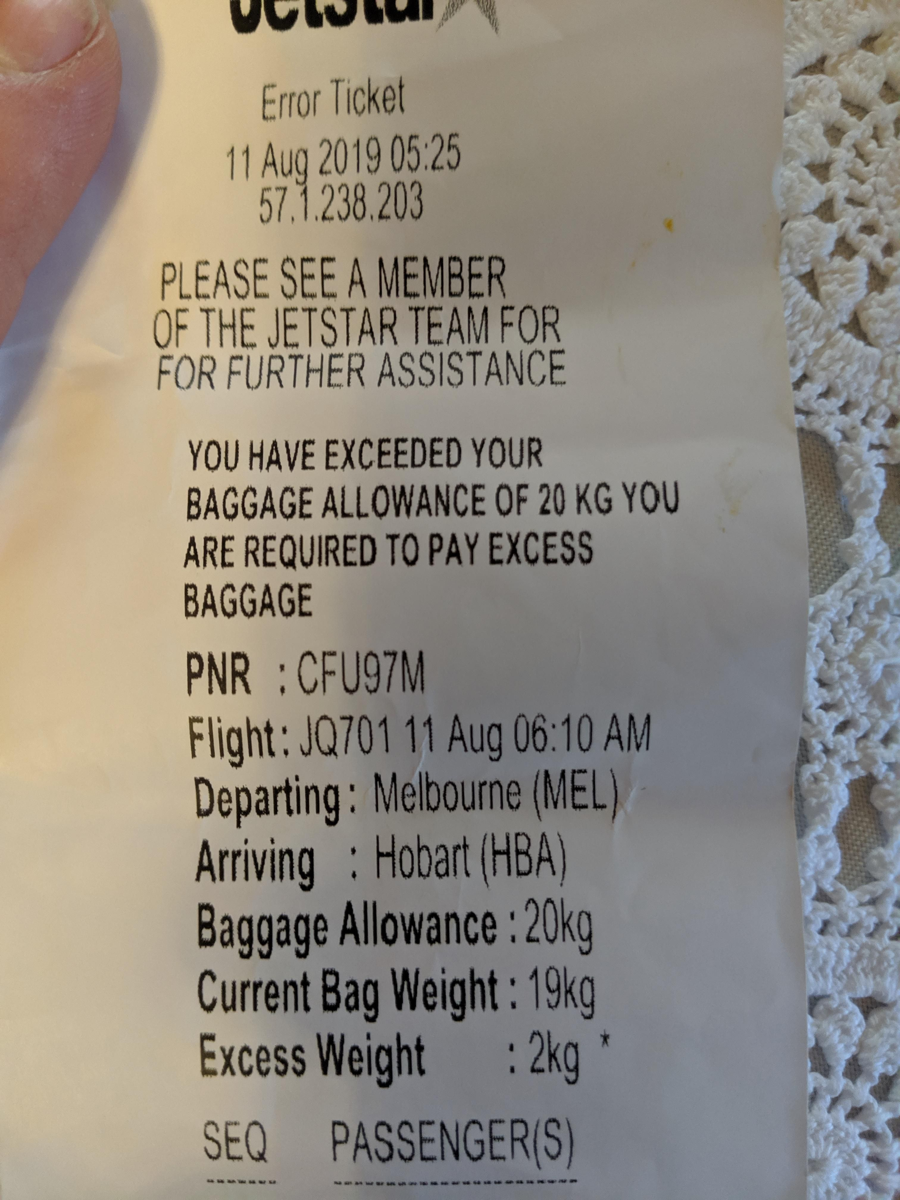 Jetstar claiming I exceed my 20kg limit by 2kg with a 19kg bag ...