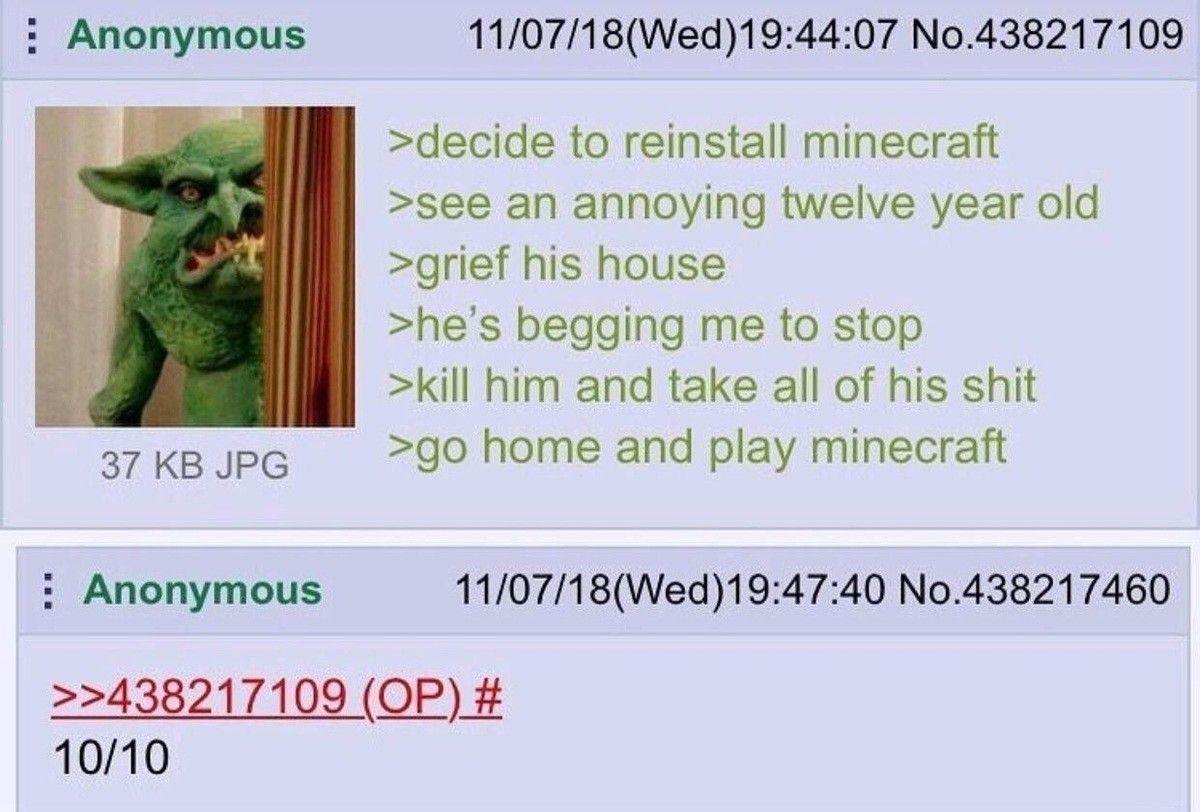 Anon plays Minecraft