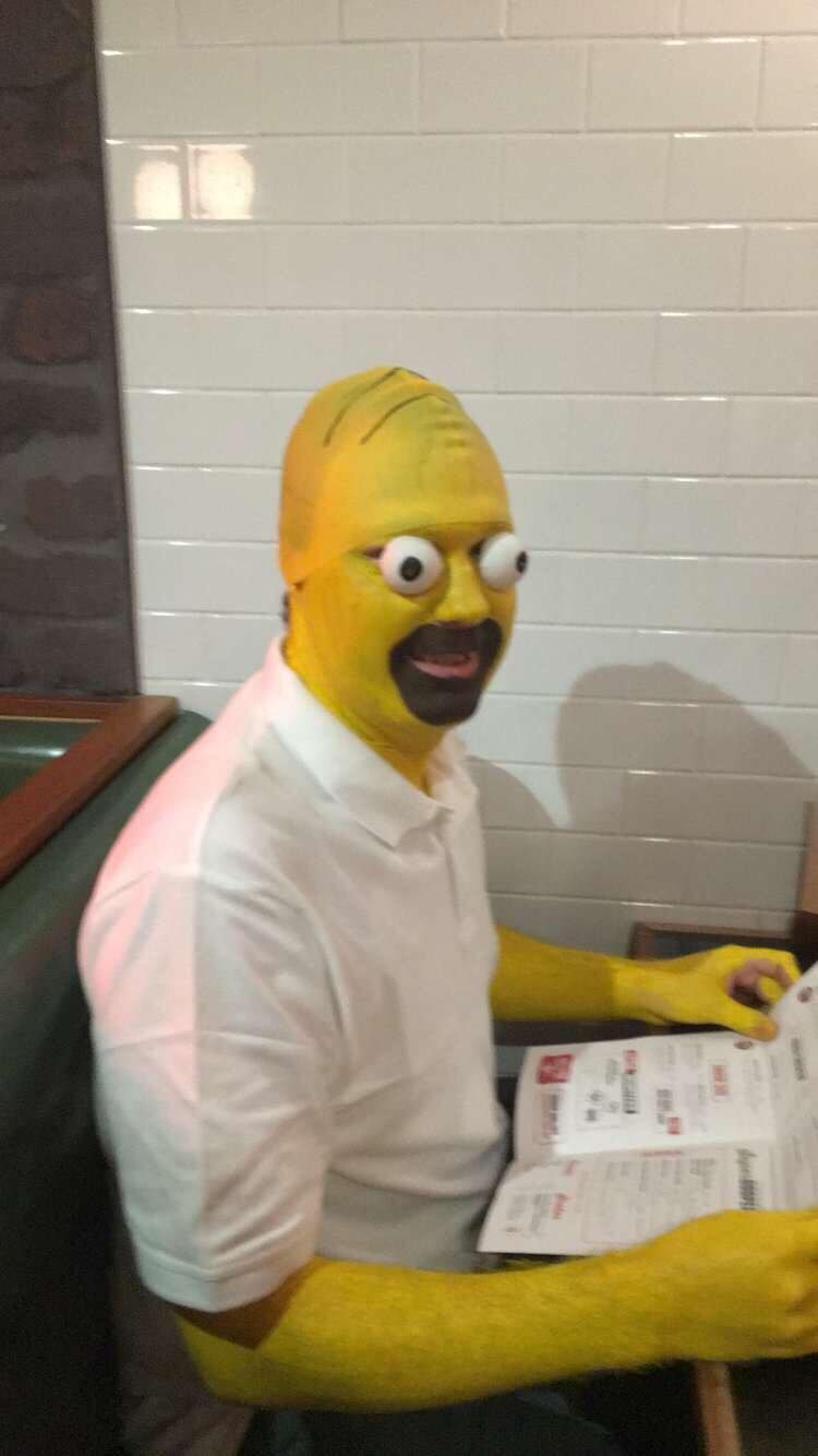 So my mates went to a Simpsons trivia night. And one of them dressed as homer and they sent me a pic.... And it's the shit nightmares are made of.