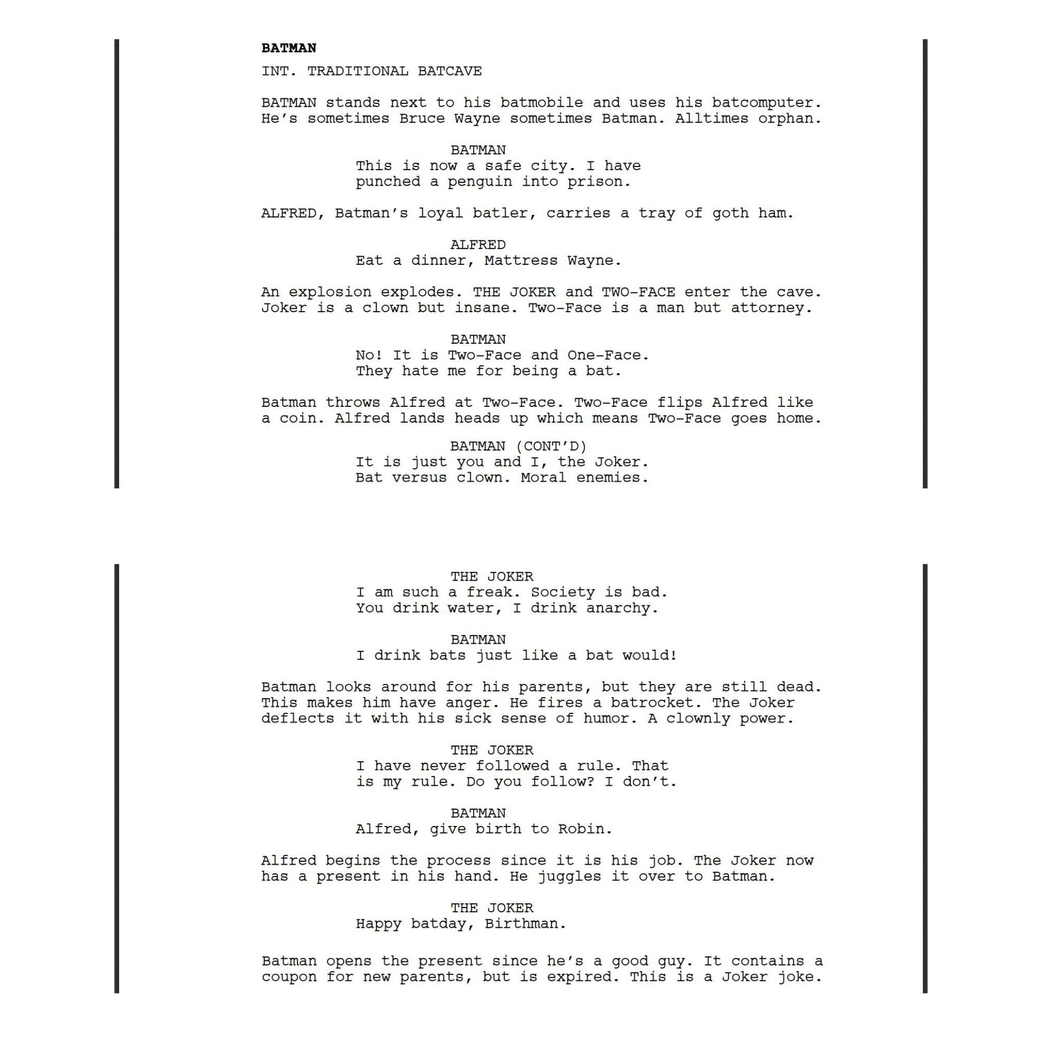 Keaton Patti forced a bot to watch over 1,000 hours of Batman movies and then asked it to write a Batman movie of its own. Here is the first page.