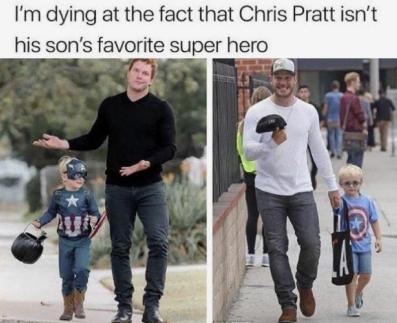 Chris Pratt isn't his son's favorite super hero