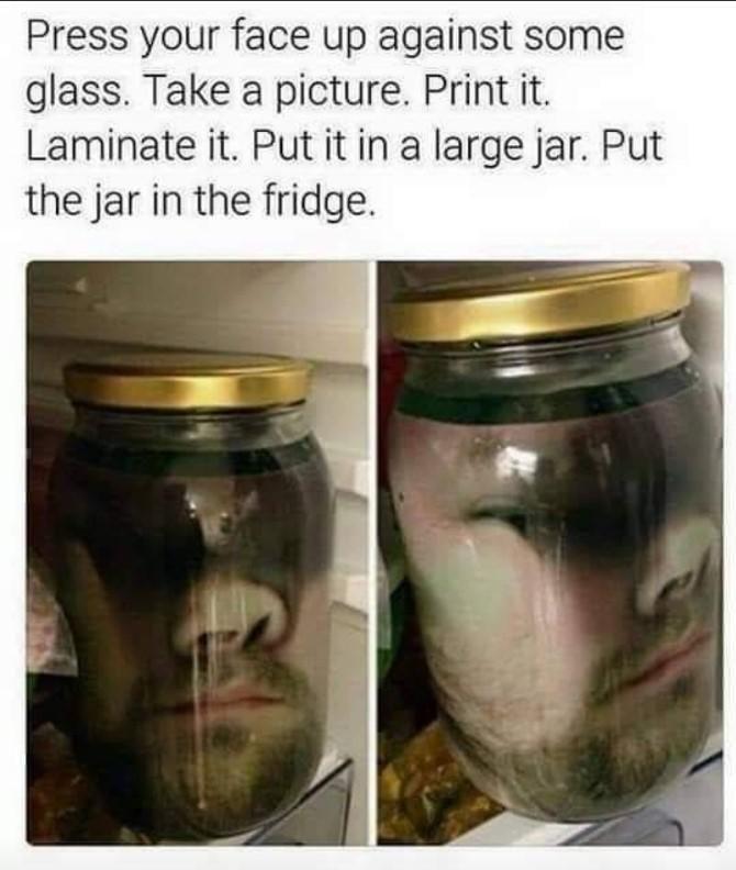 Face in jar