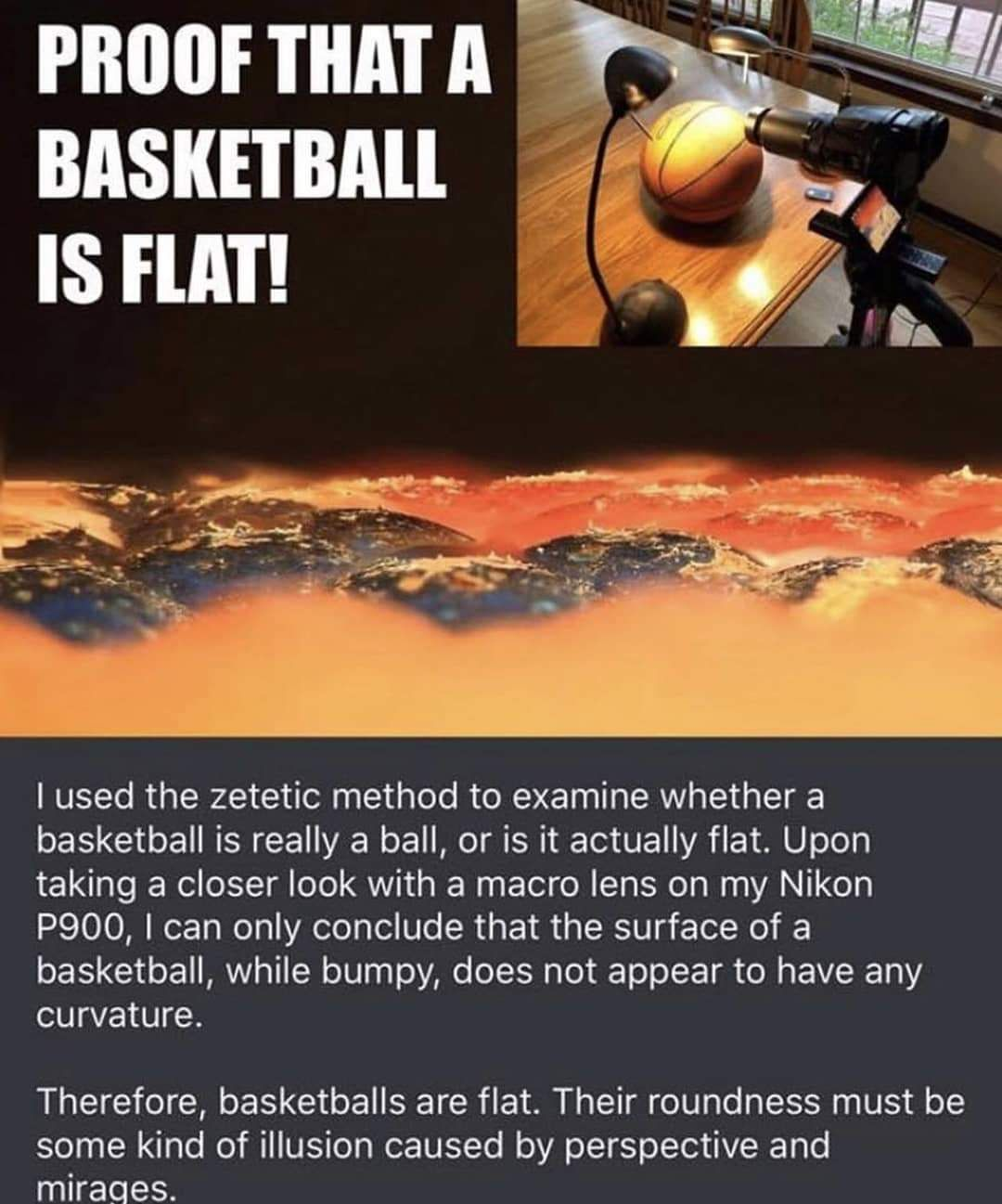 Proof that a basketball is flat!