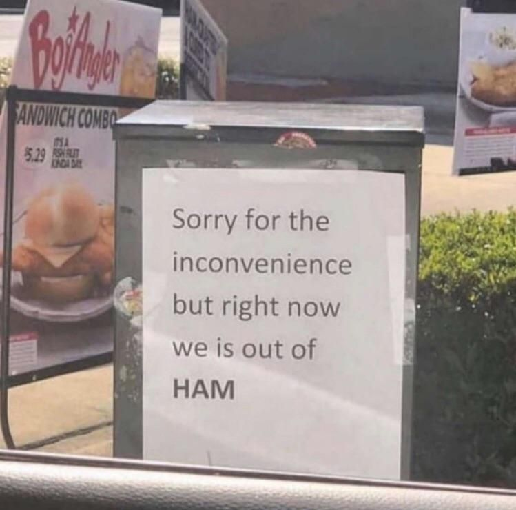We is out of HAM