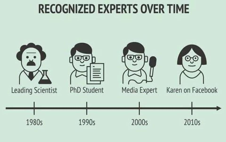 Recognized experts over time