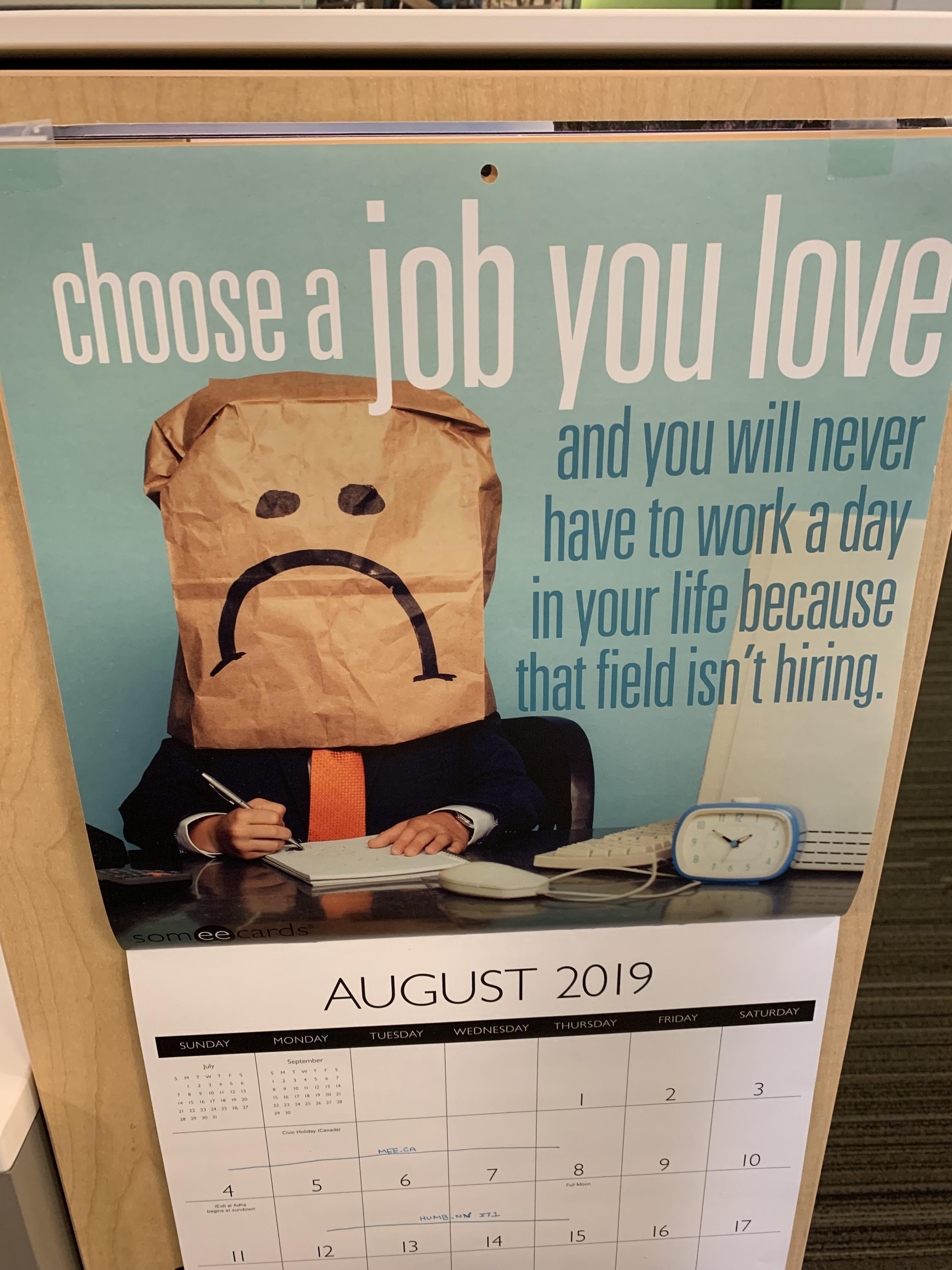 A calendar at work